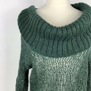 Anthropologie Guinevere Green Cowl Neck Sweater